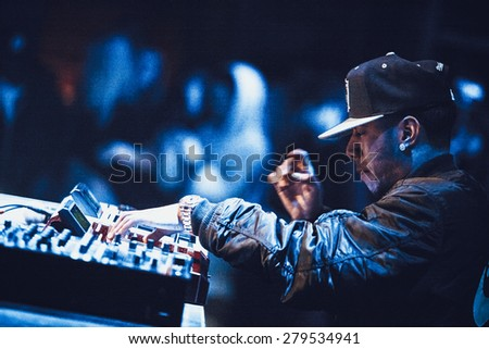 MOSCOW - 7 MARCH, 2015 : Famous hip-hop producer Abraham Orellana aka Araabmuzik playing live in Russia - stock photo