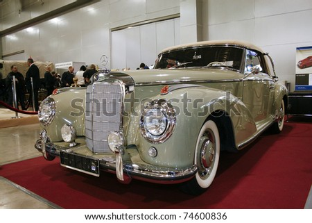 MOSCOW - MARCH 25: Mercedes-Benz 300S on display at at the Moscow Exhibition of technical antiques on March 25, 2011 in Moscow, Russia. - stock photo