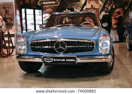 MOSCOW - MARCH 25: Mercedes-Benz W113 250SL on display at at the Moscow Exhibition of technical antiques on March 25, 2011 in Moscow, Russia. - stock photo