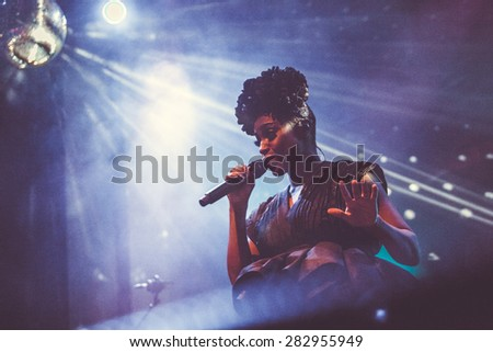 MOSCOW - 13 MARCH, 2015 : Morcheeba and Skye Edwards performing live at Glavclub nightclub in Russia - stock photo