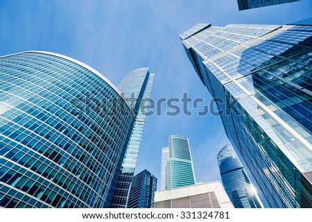 MOSCOW - MARCH 19, 2015: Moscow City  modern skyscrapers business complex in Moscow, Russia