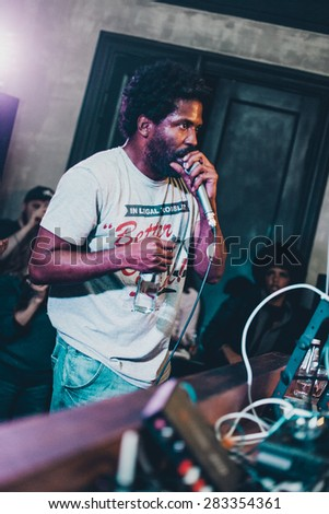 MOSCOW - 12 MARCH, 2015 : Murs (Nick Carter), artist of Strange Music performing live at Dewars Powerhouse club in Russia - stock photo