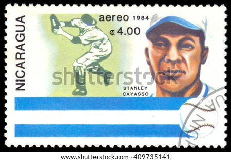 """MOSCOW, March 29, 2016: NICARAGUA - CIRCA 1984: A stamp printed in Nicaragua from the """"History of Baseball. Portraits and national colors"""" issue shows Stanley Cayasso, Nicaragua, circa 1984. - stock photo"""