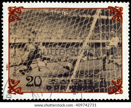 MOSCOW, March 29, 2016:  NORTH KOREA - CIRCA 1985: A stamp printed in North Korea, shows the final World Cup 1958, Brazil - Sweden, circa 1985 - stock photo