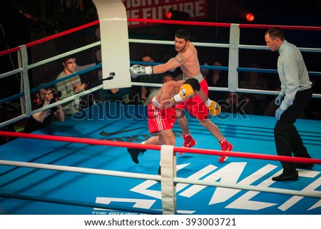 MOSCOW - 18 MARCH, 2016 : Professional boxing show Fight For The Future. Jheritz Chaves versus Vage Sarukhanyan (won) fought for the WBC EPBC (Eurasia Pacific Boxing Council) belt.