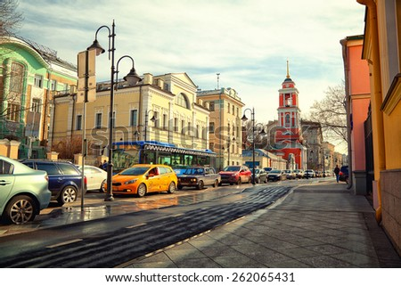 Moscow - march 18: Pyatnitskaya Street, the historic center. Zamoskvorechie. Traffic jam. Russia, Moscow, march 18, 2015 - stock photo