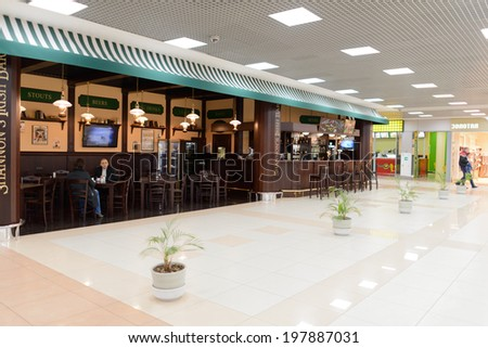 MOSCOW - MARCH 30: Sheremetyevo airport interior on March 30, 2014 in Moscow. Sheremetyevo International Airport is one of the three major airports that serve Moscow - stock photo