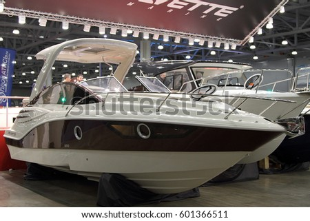 MOSCOW - MARCH 09, 2017:  Sport cruiser Velvette 29 Envy for 10 International boat show in Moscow. Russia.