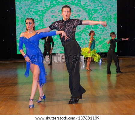MOSCOW - MARCH 16: Unidentified children age 14-18 compete in latino dance on the Artistic Dance European Championship, organized by World Dance Artistic Federation on March 16, 2014, in Moscow.