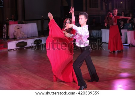 MOSCOW - MARCH 19: Unidentified teens age 10-18 compete at artistic dances at European Artistic Dace Championship, organized by World Dance Artistic Federation on March 19, 2016, in Moscow. - stock photo