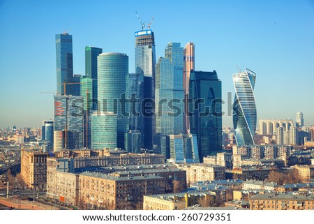 Moscow - march 14: View of Moscow and business center Moscow-City. Russia, Moscow, march 14, 2015 - stock photo