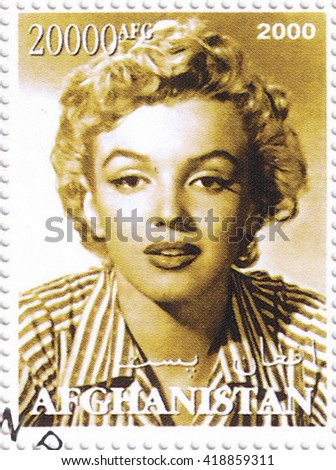 MOSCOW - MAY 11, 2016: A stamp printed in Afghanistan depicting an image of legendary Hollywood actress Marilyn Monroe, circa 2000 - stock photo