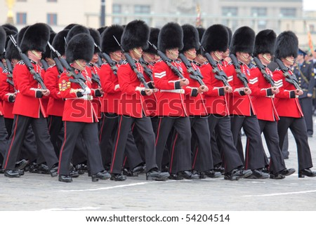 MOSCOW - MAY 6: British royal grenadiers participate in a review dress rehearsal on May 6, 2010 in Moscow. The rehearsal is to celebrate the upcoming 65th Anniversary of Victory Day (WWII) on May 9th.