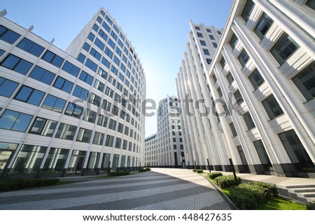 MOSCOW - MAY 20, 2015: Buildings of modern business center Aquamarine - stock photo