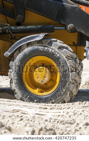 MOSCOW - MAY 14: Bulldozer on construction site in Moscow on May 14. 2016 in Russia - stock photo