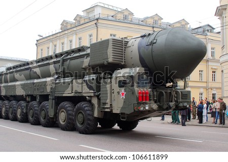 MOSCOW-MAY 6: Combat vehicle maintenance BMS missile system Topol-M at the Victory Day Parade on May 6, 2012 in Moscow - stock photo