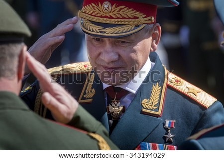 MOSCOW,07 MAY,2015:Defense Minister, Army General Sergei Shoigu at the final rehearsal of the military parade to mark the 70th anniversary of Victory in the 1941-1945 Great Patriotic War on Red Square - stock photo