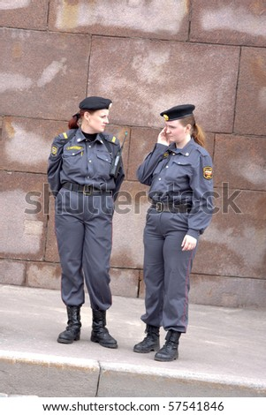 MOSCOW - MAY 29: Female police officers follow the order on the march against breast cancer on MAY 29, 2010 in Moscow, Russia