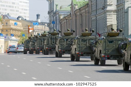 "MOSCOW - MAY 6: GAZ-233014 ""Tiger"". Dress rehearsal of Military Parade on 67th anniversary of Victory in Great Patriotic War on May 6, 2012 on Red Square in Moscow, Russia - stock photo"