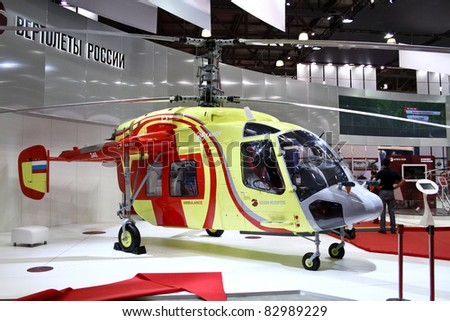 MOSCOW - MAY 19: Helicopter Ka226T at the international exhibition of  the helicopter industry, HeliRussia on May 19, 2011 in Moscow