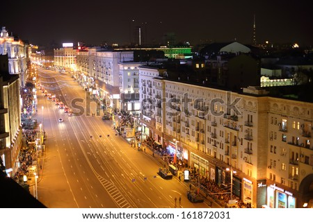 MOSCOW - MAY 3: Land-based military equipment at the rehearsal of Victory Day parade on Tverskaya street at night on May 3, 2013, Moscow, Russia