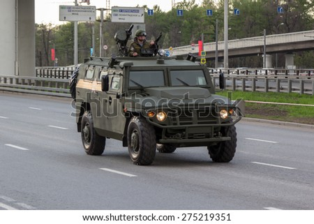 MOSCOW - MAY 4, 2015: Military vehicles on Leningradsky Prospekt in rehearsal for the Victory Day parade