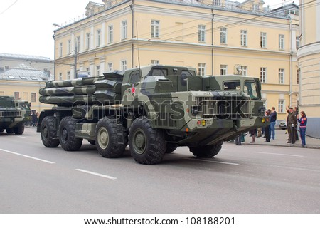 """MOSCOW-MAY 9: Multiple launch rocket system """"SMERTCH"""" at the Victory Day Parade on May 9, 2012 in Moscow - stock photo"""