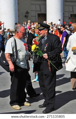 MOSCOW - MAY 09, 2014: Portrait of a war veteran. Victory Day celebration in Moscow.