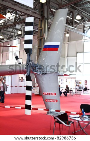 MOSCOW - MAY 19: Rear propeller helicopter at the international exhibition of  the helicopter industry, HeliRussia on May 19, 2011 in Moscow