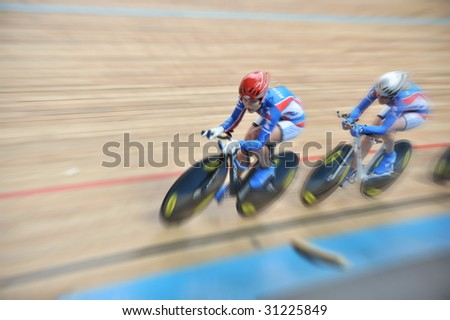 MOSCOW - MAY 31 : Romanuta Eugenia of RUSSIA of Russia participates in European Track Cycling Cup May 31, 2009 in Moscow, Russia
