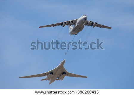 MOSCOW - MAY 9: Russian army military jets during military parade for the Victory Day which take place at Moscow's Red Square (strategic rocket carrier Tu-160 from the plane of the tanker), Russia.