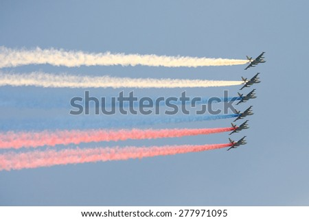 Moscow - May 9 2015 - Russian flag from the airplanes in the Moscow sky at the 70th anniversary of the Victory Day