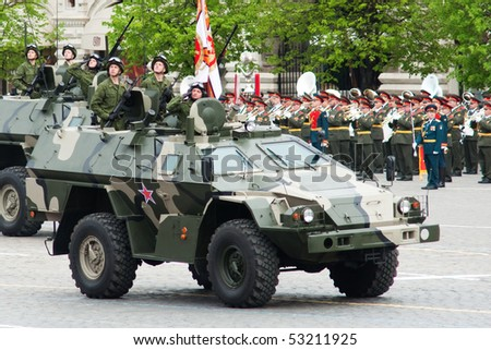 MOSCOW - 6 MAY : Russian patrol cars in rehearsal during 65th anniversary of Victory in Great Patriotic War Military Parade at Red Square  on May 6, 2010 in Moscow, Russia