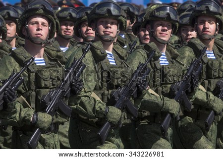 MOSCOW, 07 MAY, 2015: Russian soldiers march through Red Square during the final rehearsal of the Victory Day military parade on Red square in Moscow, Russia