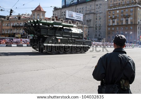 MOSCOW-MAY 6: Self-propelled fire installation Buk-M2 2 at the annual dress rehearsal of the Victory Day Parade on May 6, 2012 in Moscow