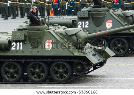 MOSCOW - MAY 6: SU-100, Dress rehearsal of Military Parade on 65th anniversary of Victory in Great Patriotic War on May 6, 2010 on Red Square in Moscow, Russia