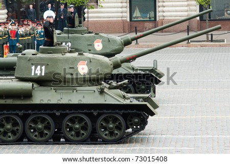 MOSCOW - MAY 6: Tank T34 in the Dress rehearsal of Military Parade on 65th anniversary of Victory in Great Patriotic War on May 6, 2010 on Red Square in Moscow, Russia