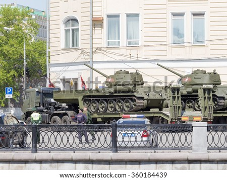 Moscow - May 7th, 2015: Transportation of large tanks on special platforms for the Victory Day parade on Red Square in the center of the city May 7, 2015, Moscow, Russia