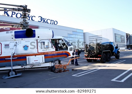 MOSCOW - MAY 19: Towing Helicopter KA-32A at the international exhibition of  the helicopter industry, HeliRussia on May 19, 2011 in Moscow