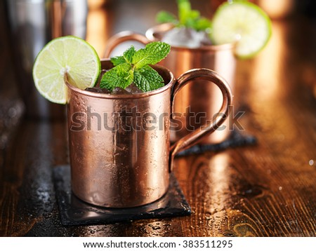 moscow mule cocktail in copper cup with mint and lime garnish - stock photo