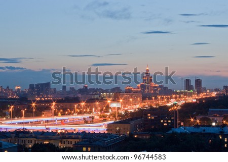 Moscow night view to Triumph-Palace - stock photo