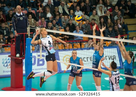 MOSCOW - NOVEMBER 2, 2016: Head coach  of team Dinamo Moscow  Yuriy Panchenko on game Dynamo Moscow vs Dynamo Kazan on Russian National women Volleyball tournament on November 2, in Moscow, Russia