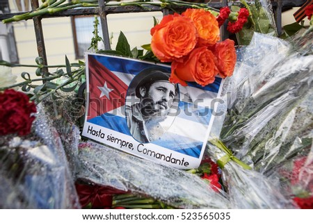 MOSCOW - 27 NOVEMBER,2016: Memorial with flowers at embassy of Republic Cuba.People mourn over death of Cuban President Fidel Castro.Funeral of nationalist Communist politician and revolutionary