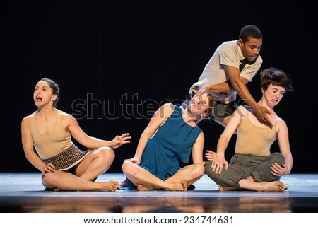 "MOSCOW - NOVEMBER, 28: Mouth to Mouth by Danielle Agami. Festival of  Contemporary choreography ""Context. Diana Vishneva"" at The Theatre of Mossovet. November 28, 2014 in Moscow, Russia - stock photo"