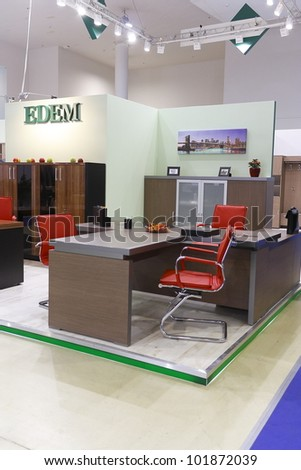 MOSCOW- NOVEMBER 25:The stand of the Russian office furniture company EDEM  in the international exhibition Mebel '2011 on November 25 2011 in Moscow