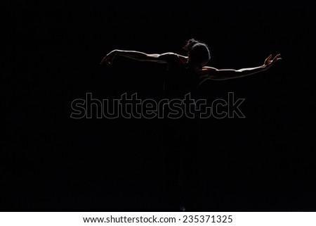 """MOSCOW - NOVEMBER, 29: Tue. Diana Vishneva. Rehearsal. Festival of  Contemporary choreography """"Context. Diana Vishneva"""" at The Theatre of Mossovet. November 29, 2014 in Moscow, Russia - stock photo"""