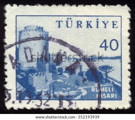 MOSCOW, NOVEMBER 17, 2015: TURKEY - CIRCA 1960: Postage stamps printed in Turkey, depicts Rumelihisari (Rumelian Castle), circa 1960 - stock photo