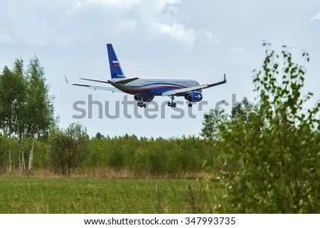 Moscow oblast, Russia - May 18, 2015: Russian airplane Tu-214ON of the Russian Ministry of Defence landing at military airbase.