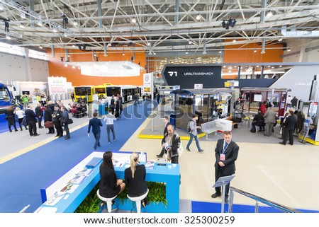 MOSCOW - OCT 30, 2014: Hall of Exhibition of city transport ExpoCityTrans 2014 - stock photo