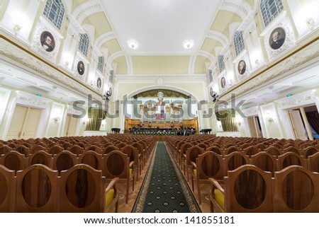 MOSCOW - OCT 4: Hall of the Moscow Tchaikovsky Conservatory (view from the center of hall) on October 4, 2012 in Moscow, Russia. - stock photo